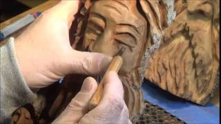 Wood Spirit Carving Tips, Using a micro gouge to help carve out eyes.