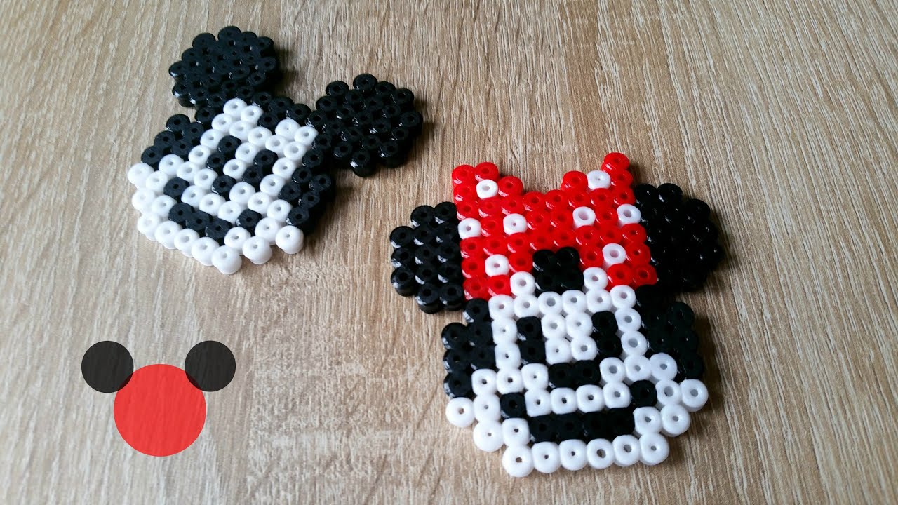 diy mickey minnie en perles hama perler beads mickey minnie mouse youtube. Black Bedroom Furniture Sets. Home Design Ideas