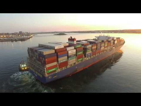 Large Container Ship APL DANUBE Inbound into Halifax, NS - Two Tugs - Haltern Terminal