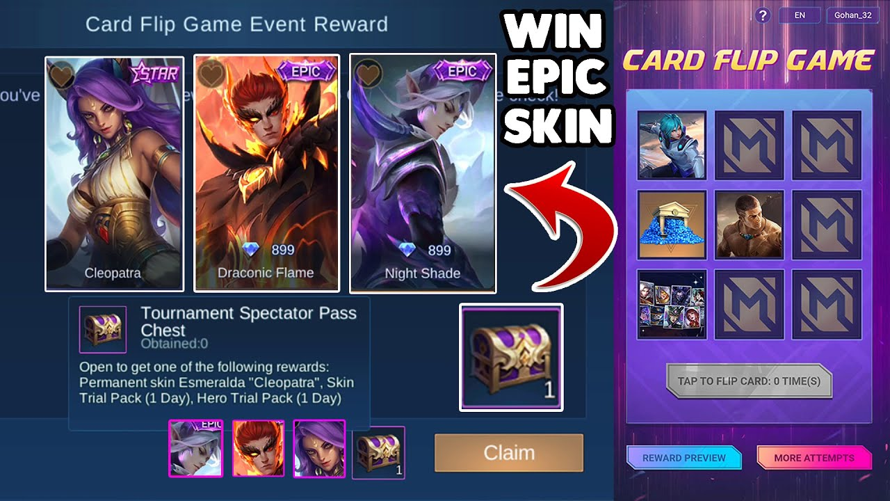 WIN EPIC SKIN FROM CARD FLIP EVENT ~ M2 NEW BROWSING EVENT ~ Mobile legend bang bang