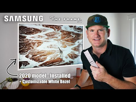 2020 Samsung The Frame Install w/ No-gap Wall Mount & Customizable White Bezel