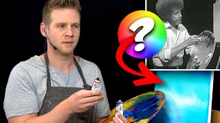 "🎨❓ ""Colorblind"" Bob Ross Painting Challenge!! - Can I guess the right colors?..."