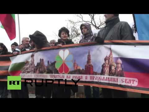 Bulgaria: Pro-Russian protesters rally outside Turkish embassy in Sofia