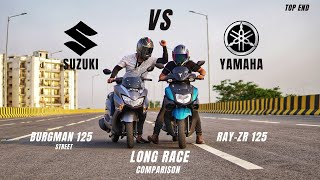 Yamaha Ray-ZR 125 Bs6 Vs Suzuki Burgman Street 125 Bs6 Long Race | Detail Comparison | Ksc Vlogs