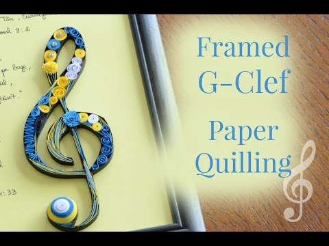 Framed Paper Quilling G-Clef Musical Quilling