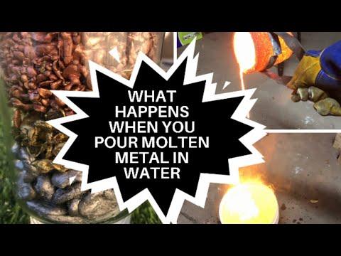 Pouring Molten Metals In Water - Casting Bronze Copper Aluminium Shot