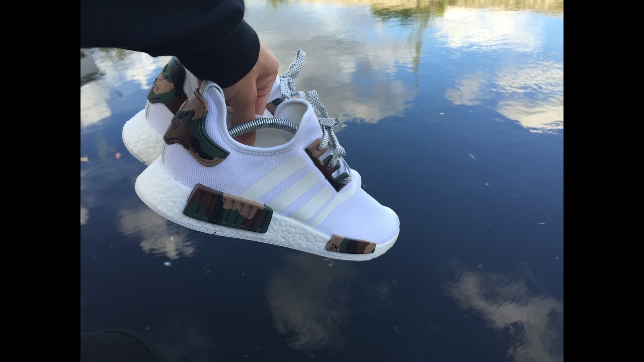 833762fc3c57a ADIDAS TRIPLE WHITE NMD CUSTOM CAMO 2nd - YouTube