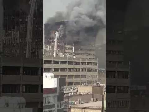Iconic Plasco building collapse momment live from tehran