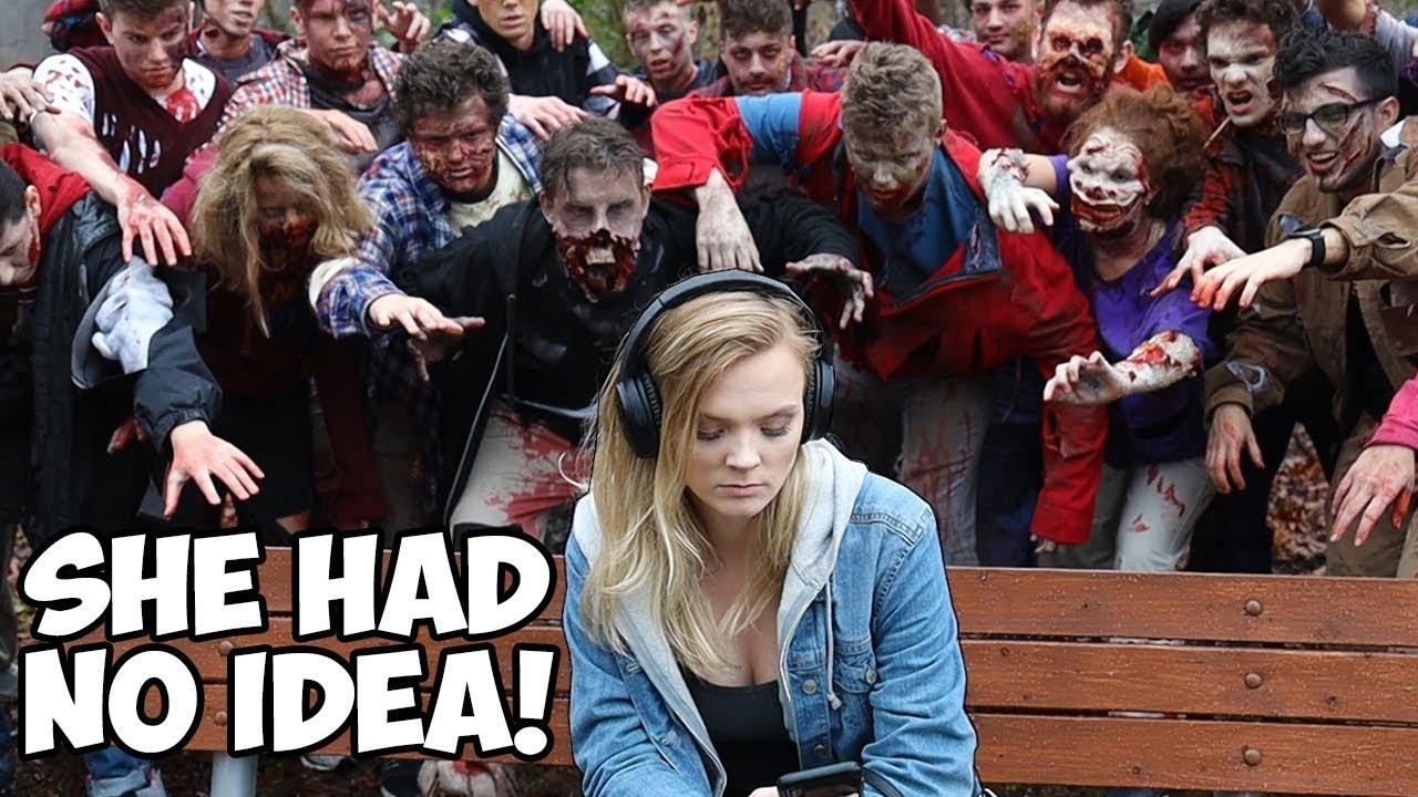 Überraschende Fremde mit 100 Zombies - Experiment + video