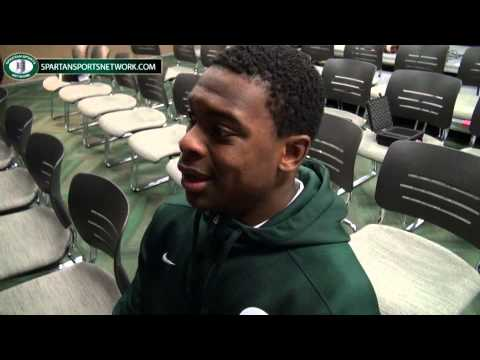 Montae Nicholson talks to the media after beating Nebraska