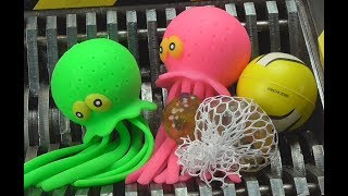 Octopus Shredded! Squishy Family Toys Destroyed! What\'s Inside Slime Toys?