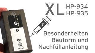 HP-934XL, HP-935XL Tintenpatrone nachfüllen - Nachfüllanleitung für Extratank