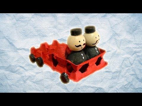 Camión de bomberos de juguete. Manualidad de reciclaje para niños