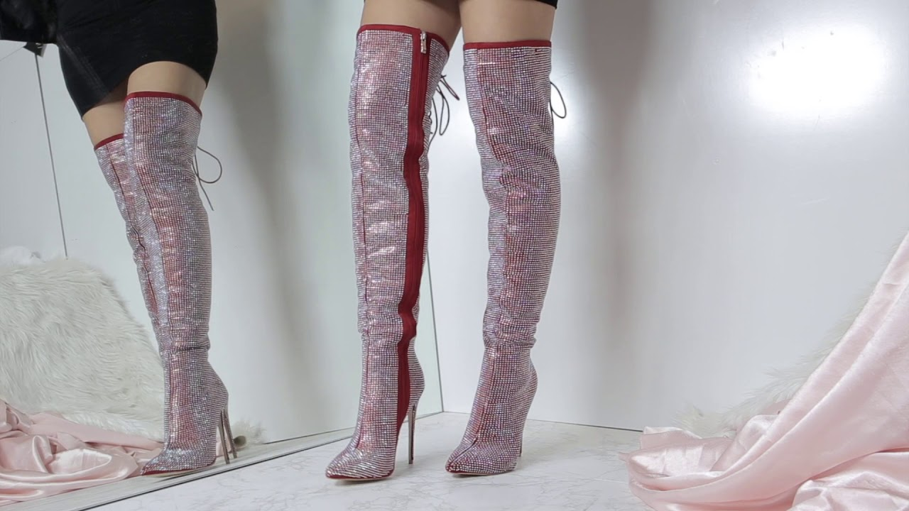 22361f39a52 YOU SHOULD BE DANCING RHINESTONE THIGH HIGH STILETTO BOOTS - YouTube