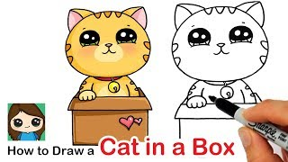 How to Draw a Cute Cat in a Box Easy