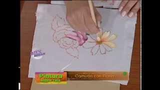 María Alejandra Coronel  - Bienvenidas TV - Pinta sobre Tela un Camisón con Flores.