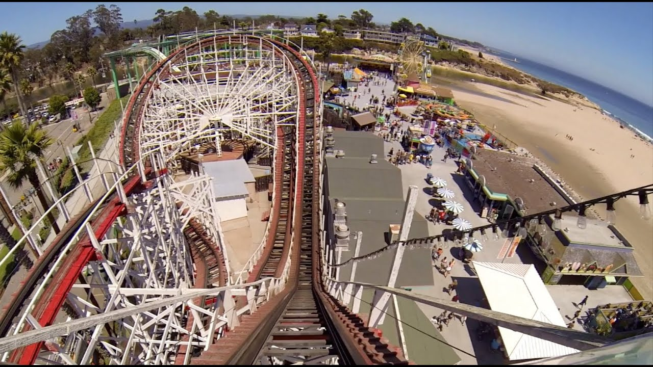 Giant Dipper Wooden Roller Coaster Pov Santa Cruz Beach Boardwalk