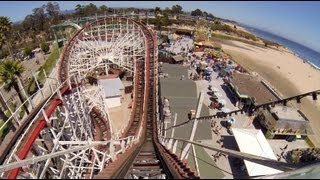 Giant Dipper Wooden Roller Coaster POV Santa Cruz Beach Boardwalk