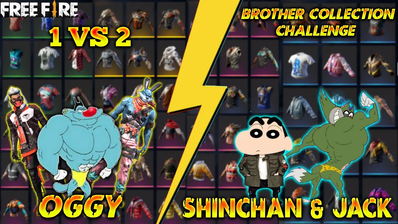 Oggy VS Shinchan + Jack || 1 VS 2 Fight || Collection Battle || Rich Vs Poor | Free Fire