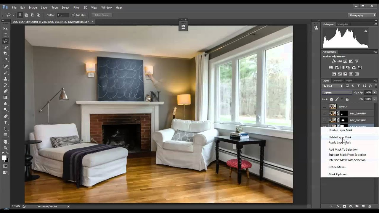 selectively lighting and using layer masks real estate interiors
