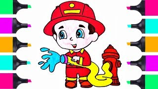 How To Draw Cute Fireman | Coloring Pages For Children | Learn How To Draw