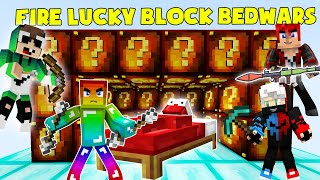MINI GAME : FIRE LUCKY BLOCK BEDWARS ** T GAMING THỬ THÁCH CHIẾN THẮNG NOOB TEAM VÀ CÁI KẾT ??