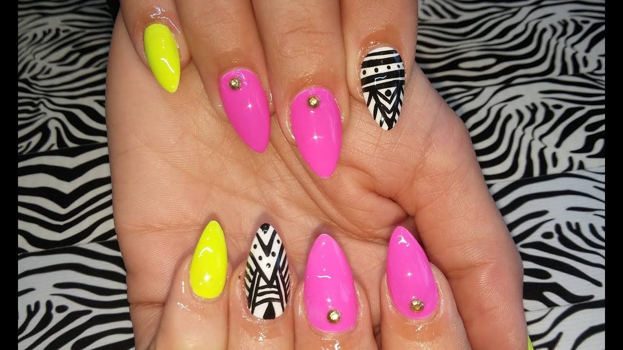 Acrylic Nails l Neon Yellow & Pink Abstract l Nail Design - YouTube