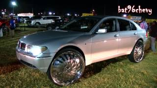 "BMW 745 Li on 30"" DUB Swyrl Floaters, driving thru BEATING - 1080p HD"