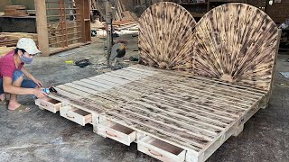 Amazing Design Ideas Woodworking Project Leverage Cheap From Pallet - Build A Double Bed From Pallet