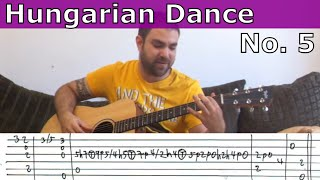 Fingerstyle Tutorial: Hungarian Dance No. 5 - w/ TAB (Guitar Lesson)
