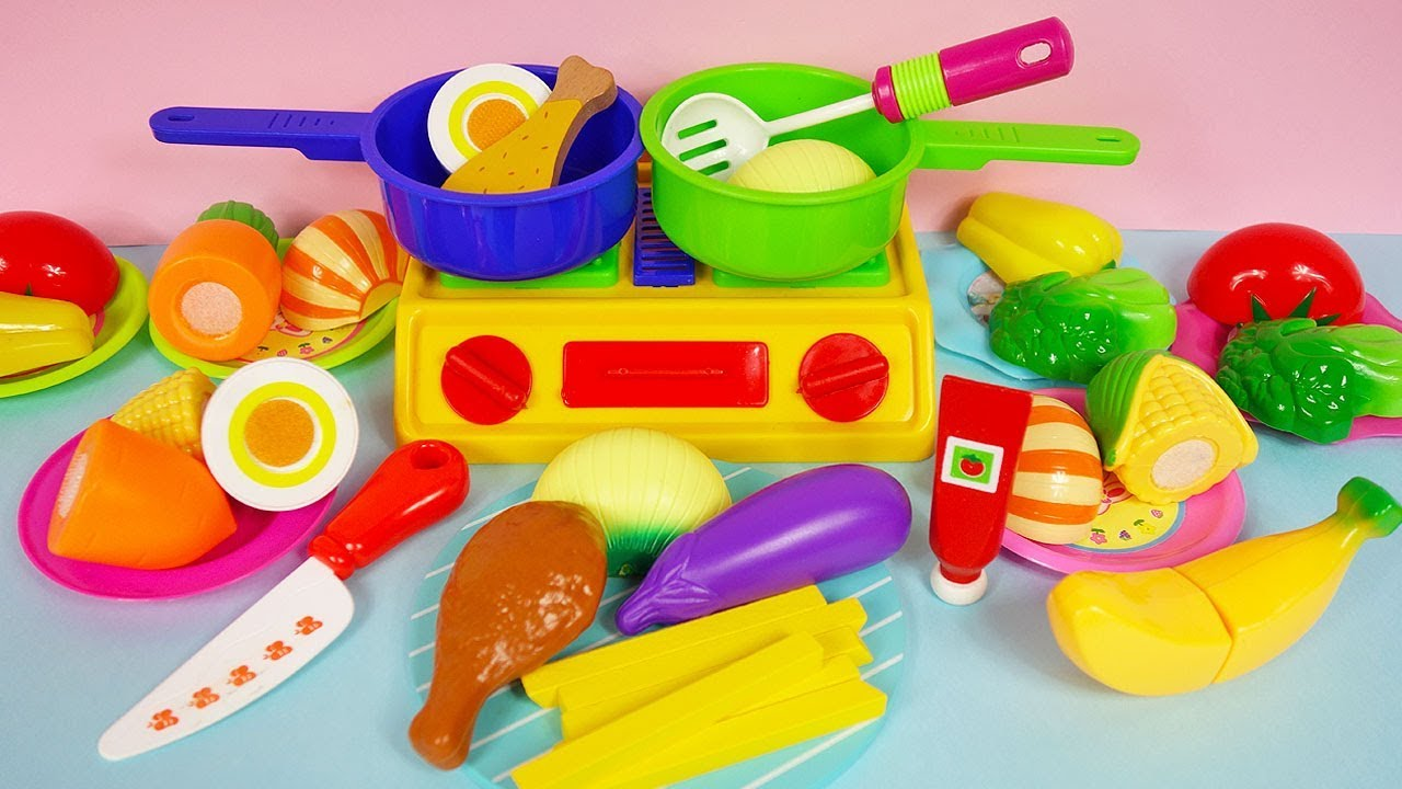 Cooking Velcro Cutting Vegetables And Baking Toy Foods
