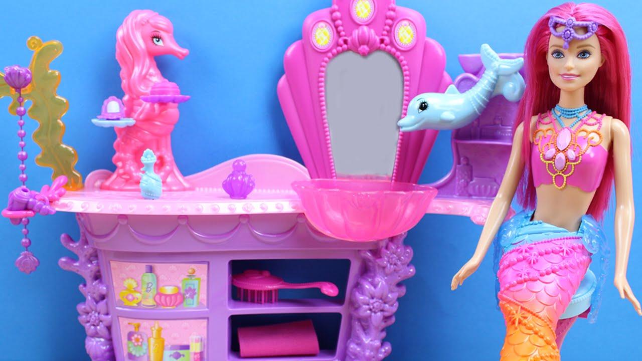 Barbie sirena arcoiris sal n de belleza la princesa de las perlas juguetes de barbie en - La casa de barbie de juguete ...