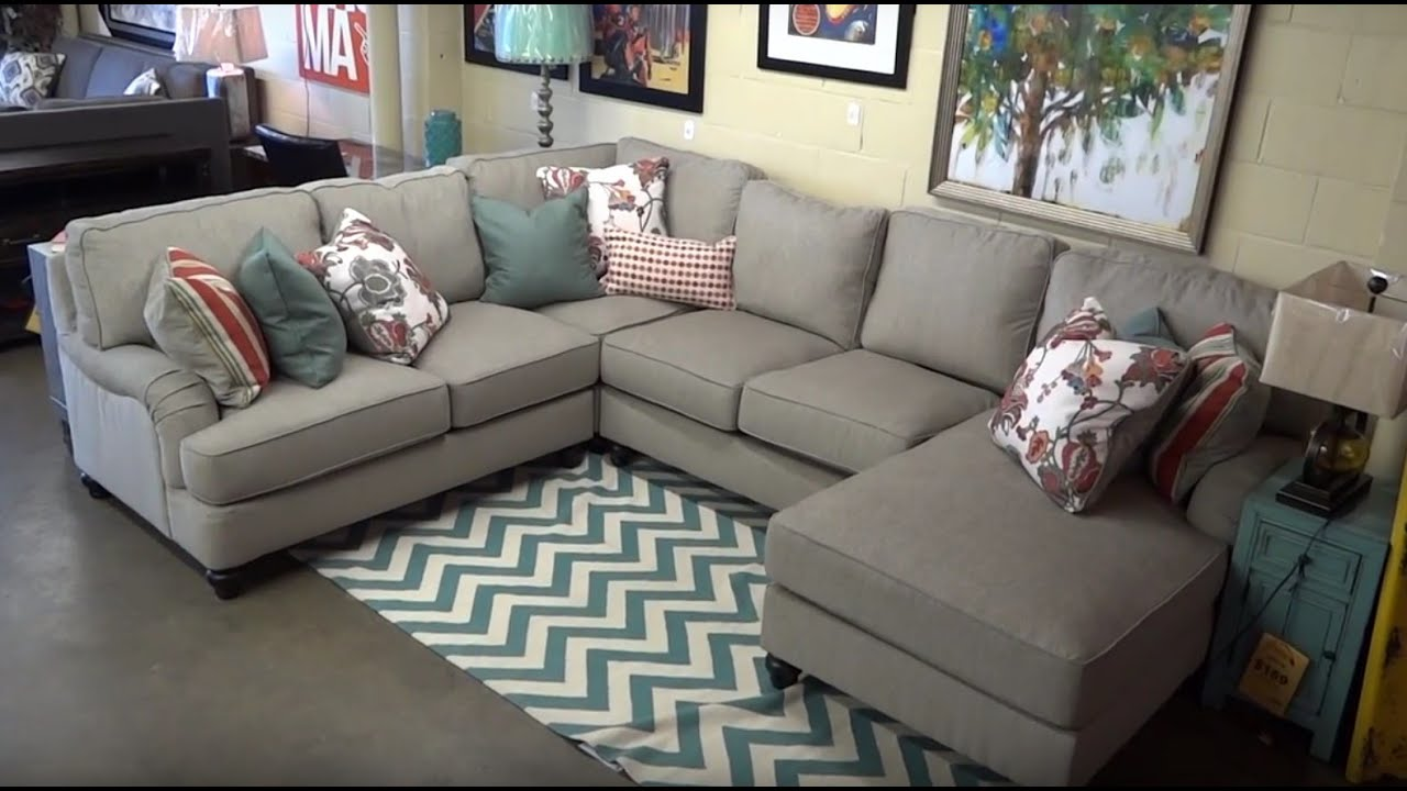 Awesome Ashley Furniture Kerridon Putty Sectional 263 Review   YouTube