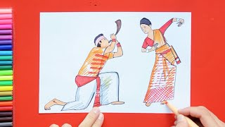 How to draw and color Bihu festival dance - Assamese new year