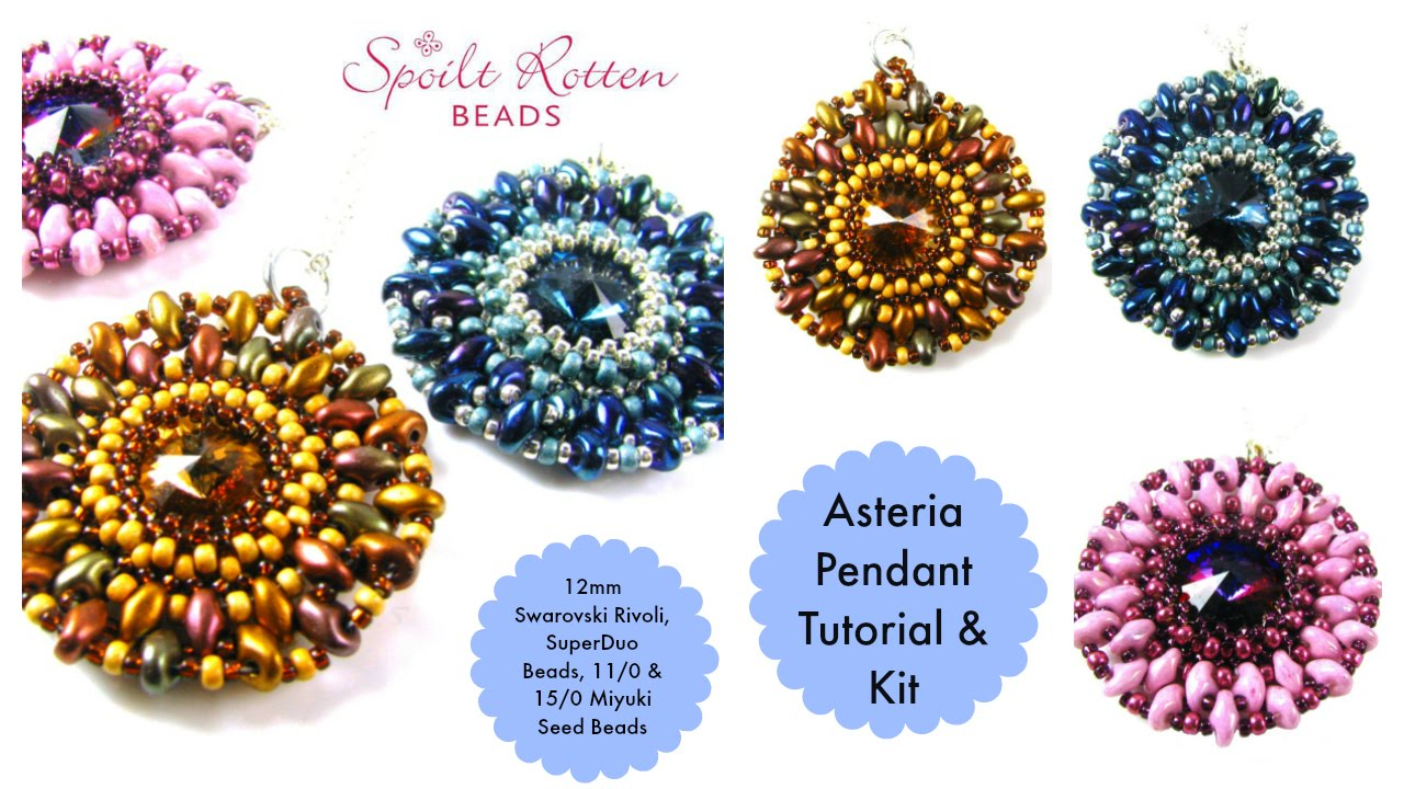 220046c93c1 Asteria Pendant with 12mm rivoli, superduos, 11/0 and 15/0 seed beads -  YouTube
