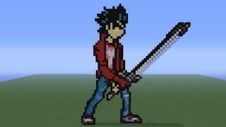 """Minecraft Pixel Art: Travis Touchdown """"No more heroes"""" Tutorial"""
