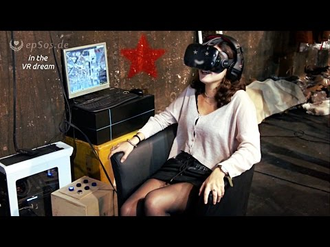 Beautiful Woman falling into the VR Dream.