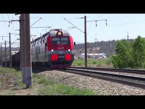 Электровоз 3ЭС5К 566 с грузовым поездом  Вос  Сиб жд