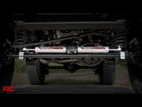 Rough Country 2.2 Steering Stabilizer Fits 2007-2018 Jeep Wrangler JK Premium Steering Damper 87306