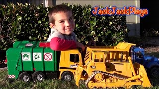 Bruder Toy Trucks at Pond: Garbage Truck, Bulldozer, Dump Truck, Loader Construction Vehicles