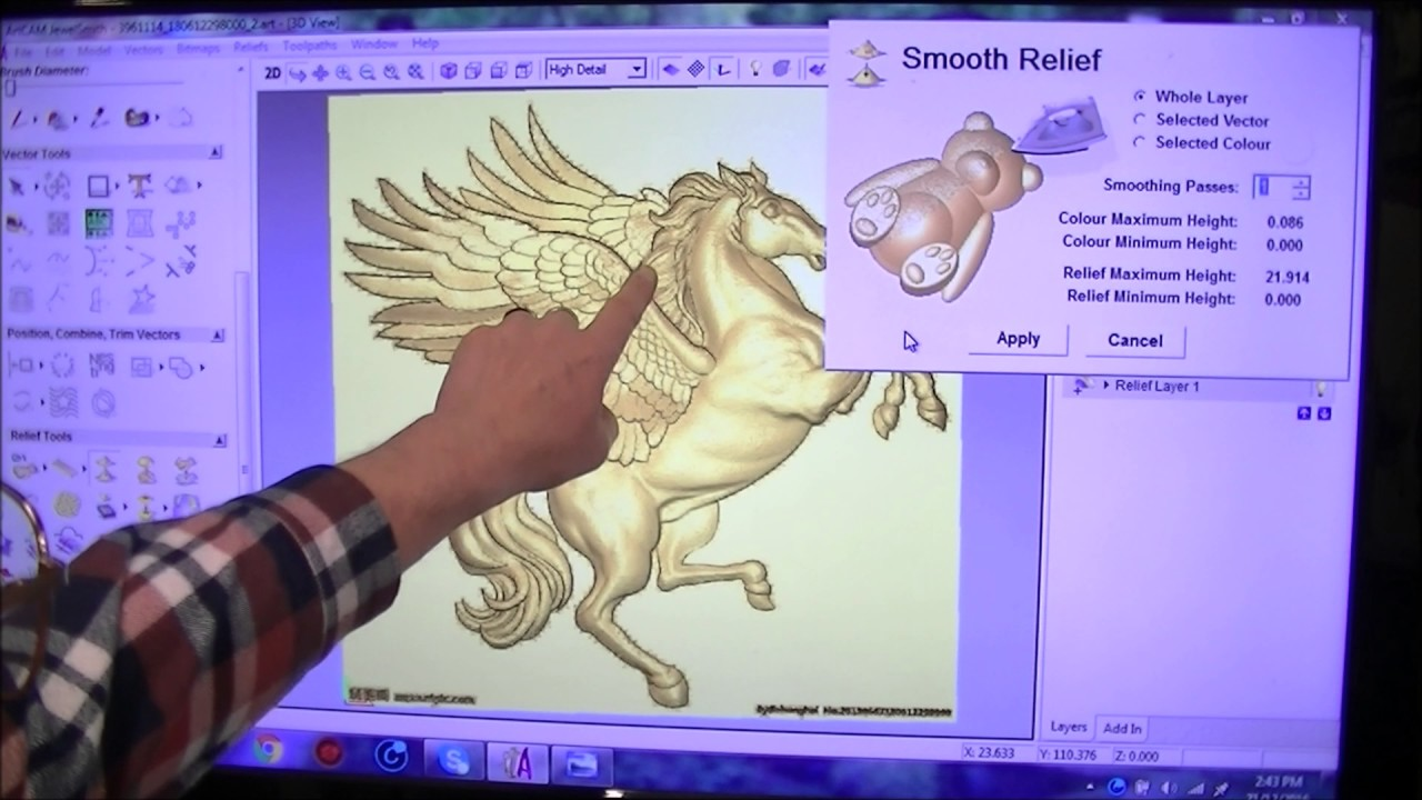 Grayscale 3d relief picture and images - 157a Pegasus Greyscale Picture To 3d Relief With Artcam Jewelsmith Youtube