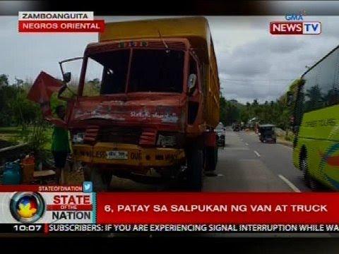 6, patay sa salpukan ng van at truck sa Negros Oriental