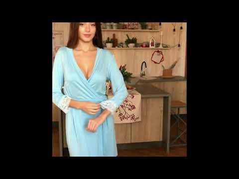 Небесно-голубой женский халат