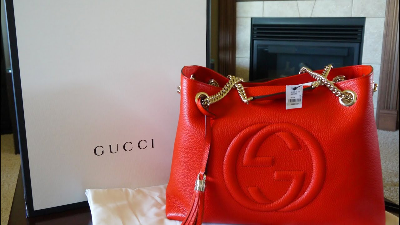 3d854ba8c Gucci Soho Leather Shoulder Bag Unboxing | Gucci Haul - YouTube
