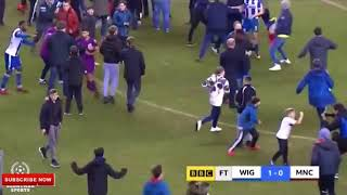 AGUERO Fighting With Wigan Fans At Full Time (PITCH INVASION)