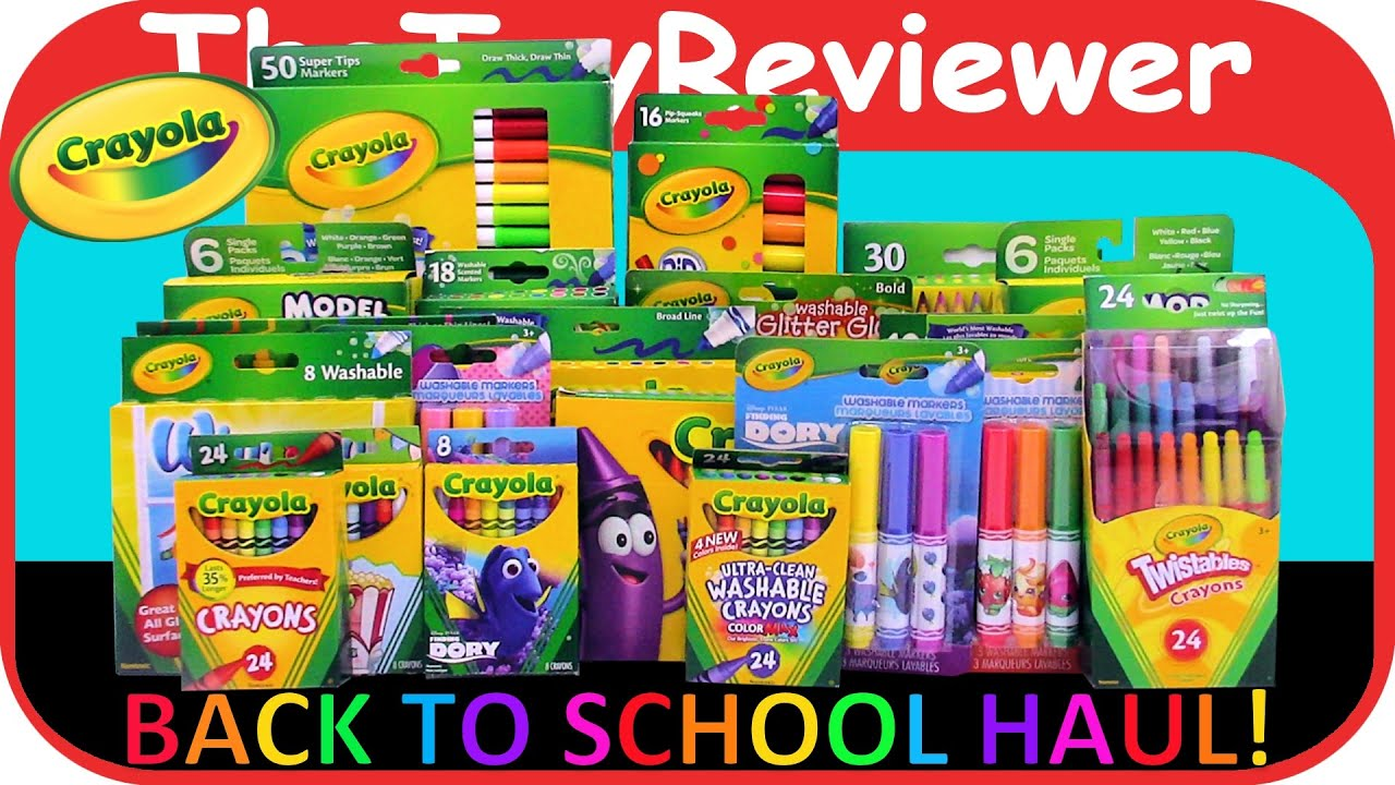 2016 Crayola Back to School Haul HUGE Crayons Markers Pencils ...