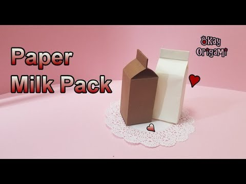 Okay! ll Origami Paper Folding Milk Pack (Container), 折り紙, 종이접기