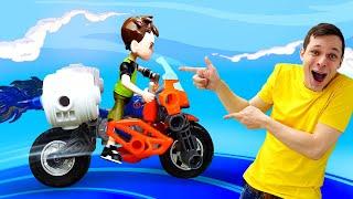 Бен 10 и игры с машинками - Прокачиваем мотоцикл Бен Тена! – Супергерои в видео для мальчиков.