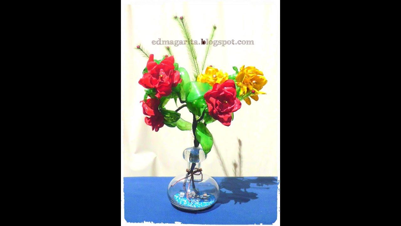 Tutorial arreglo con rosas de botellas de plastico 03 - Flores de plastico ...
