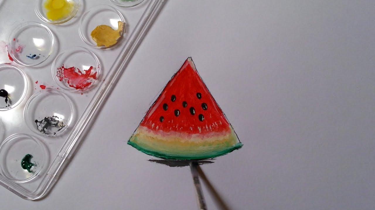 كيف أرسم قطعة بطيخ بالألوان المائية بطريقة بسيطة Youtube